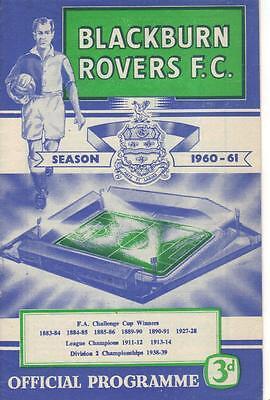 1960/61    Blackburn Rovers   v   Bolton Wanderers  -  MINT  -  FA Cup 4 Replay