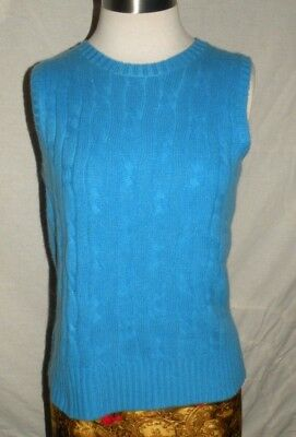 Lord & Taylor 100% Cashmere Cable Knit Sz S sleeveless sweater vest blue 2 -