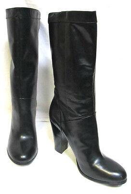 NINE WEST Leather Boots sz 10 / 42 black smooth sexy sturdy heel NEW rrp$260!