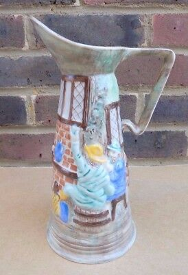 Vintage H.J. WOOD BURSLEM Pottery Hand Painted Tall Pitcher / Jug - Pub Scene
