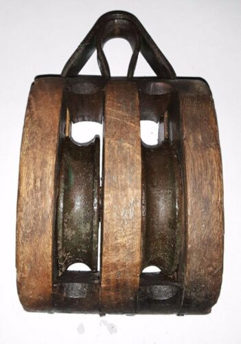 Pulley Block And Tackle Wood Double Rope  Nautical Maritime Ships Decore
