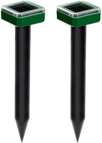 2 Pack Solar Mole and Groundhog Repellent Stakes Sonic Gopher Repeller Vole