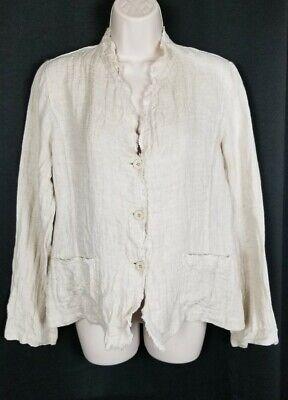 Eileen Fisher Natural Linen Jacket Cardigan Fringed Large
