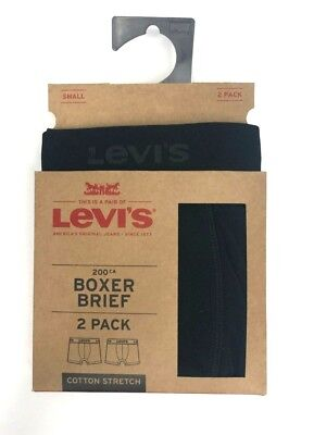 Mens LEVIS Boxer Brief Underwear 2 Pair Pack Cotton Stretch Size Small 28 - 30 2 Pack Cotton Boxer
