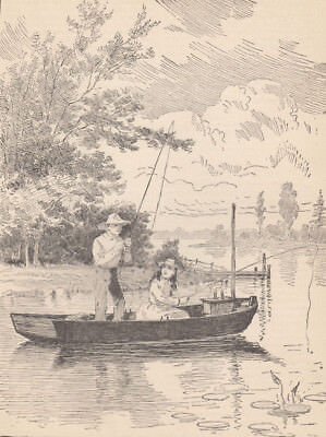 CHILDREN FISHING FROM BOAT ON THE THAMES RIVER ENGLAND ANTIQUE PRINT 1887