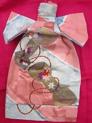 Vintage Japanese Child's Silk Obi Exquisite Woven Fabric Gold Thread Embroidery
