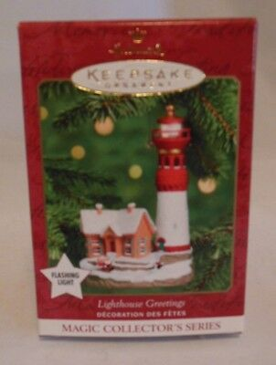 Hallmark Christmas Ornament Magic Red Light House Greetings 2000 Org  Box