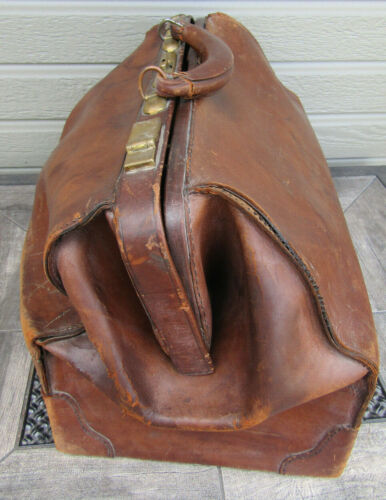 Antique Brown Leather Doctor Medical Bag Luggage Quackery Genuine Cowhide