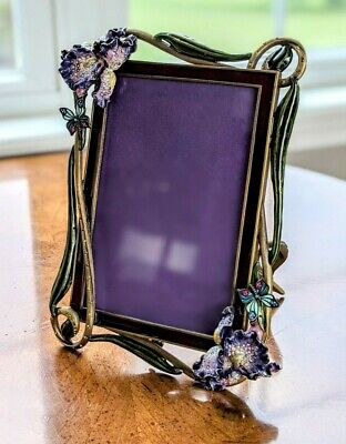 """Jay Strongwater """"Heather"""" Bloom Collection w/ Iris Flowers Photo Picture Frame"""