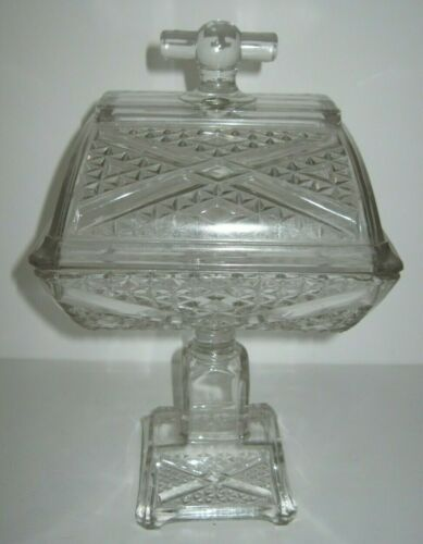 Antique Glass Compote Adams & Co C1880s Ashman EAPG Glass Compote