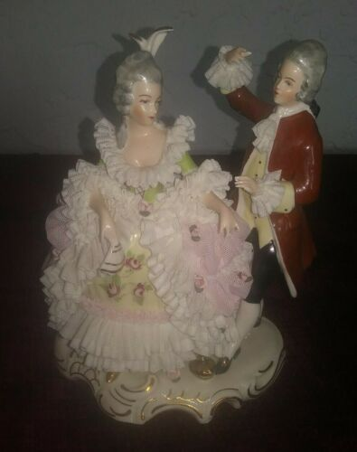 Lace Dancing Lady and Man Figurine, Dresden, Marked, Beautiful