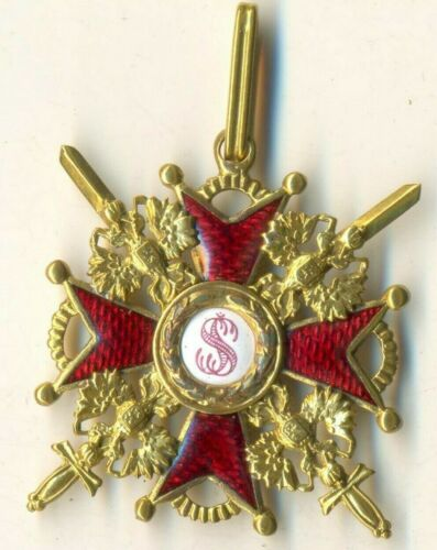 Russian Imperial Antique badge medal Order St. Stanislav Bronze 3 swords (1118)