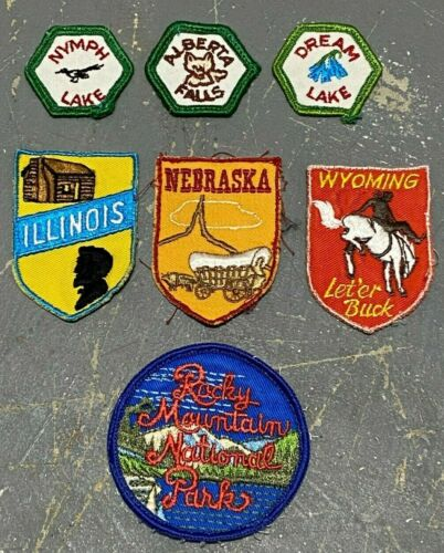 Lot of 7 pre owned Boy Scouts BSA patches - RMNP Nymph Dream Lake Alberta Falls