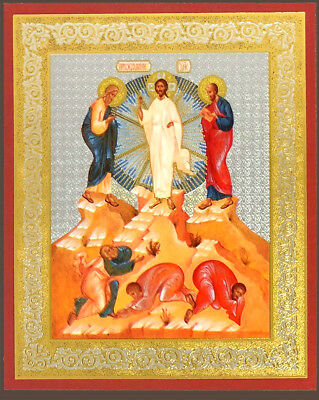 Transfiguration Of Jesus Christ Russian Wooden Mini Icon God   Silver Foiled 3