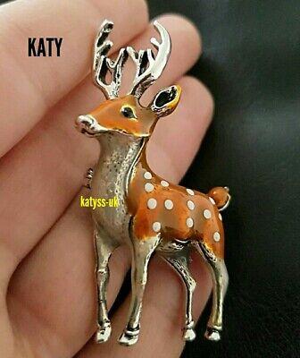 Silver Tone Vintage Style Red Deer Baby Stag Brooch Enamel Pin Celtic Broach