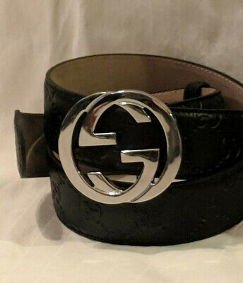 Authentic Black Gucci Belt - Guccissima 90cm/36in Fits 30-32