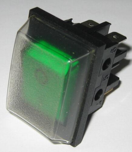 Dreefs Illuminated Green Rocker Switch - DPST with PVC Dust Cap - 250V 16A 3/4HP