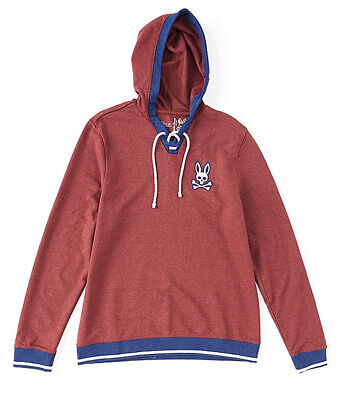 Psycho Bunny Men's Pinot Red Brushed Fleece Lace Up Pullover Lounge Hoodie  Red Brushed Fleece