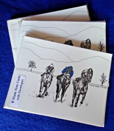 Racing Horses 18 Blank Notecards with Linen Style Envelopes New