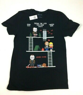 Friday the 13th Horror Movie Jason Voorhees Pixel Story T-Shirt Size M