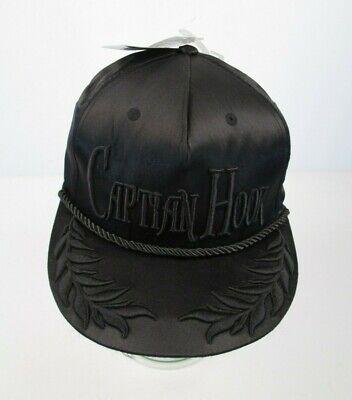 Disney CAPTAIN HOOK Hat Cap Snapback Black Satin Cord Embroidered NWT](Disney Captain Hook Hat)