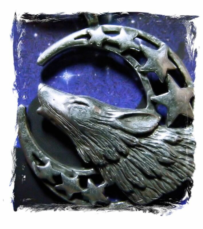 AMULET WICCA Moon & Stars HOWLING WOLF Pewter PENDANT w/ black necklace cord