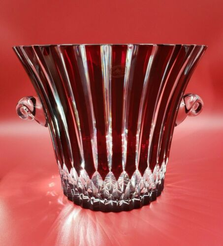 AJKA Castille Ruby Red Cut to Clear Crystal Champagne Ice Wine Bucket