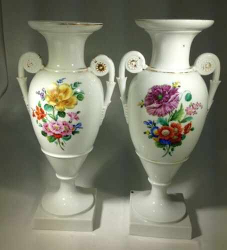 Antique Two Elegant German Dresden Porcelain Hand Painted Urn/Vases With Handles