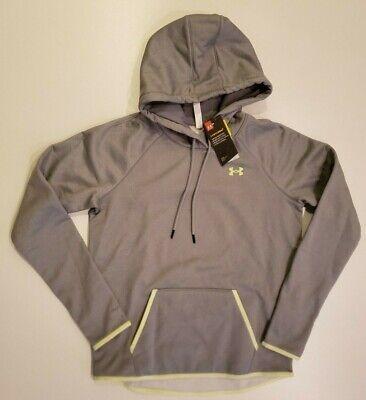 UNDER ARMOUR Women's Pullover Gray Sweatshirt Medium Loose Fit Storm 1 Hoodie