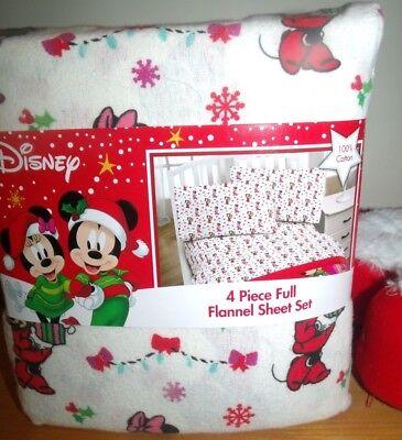 Disney Mrs Santa Minnie Mouse Christmas Cotton Flannel Full Sheet Set White/Pink (Disney Cotton Sheet Set)