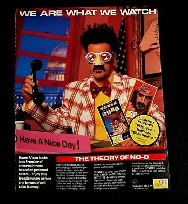 1987 FRANK ZAPPA HONKER HOME VIDEO VINTAGE 11X13 WE ARE WHAT WE WATCH FULL PG AD