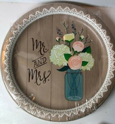 Rustic Wedding 7 Inch Paper 8 Pack Plates Bridal Shower Decoration