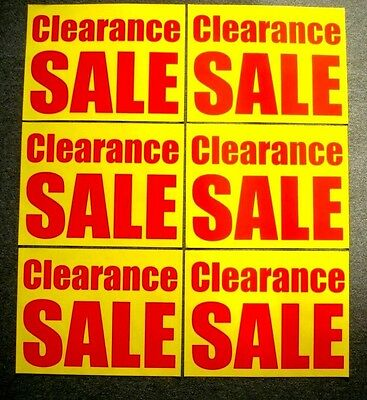 6 Clearance Sale Window Signs 17.5 X 23 Red On Yellow Paper