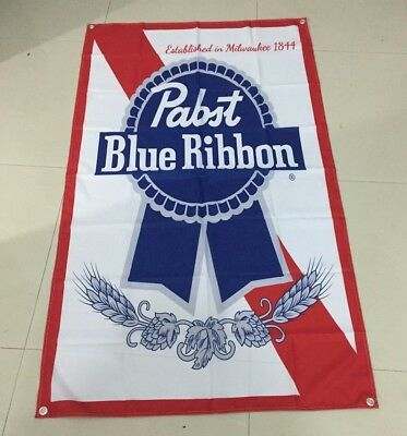 PABST BLUE RIBBON - VERTICAL FLAG CLOTH SIGN 5 ft tall X 3 ft wide PBR
