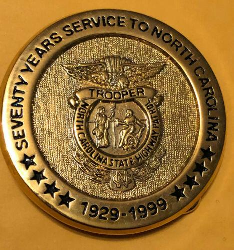 Vintage RARE North Carolina State Trooper 70 Years of Service Belt Buckle
