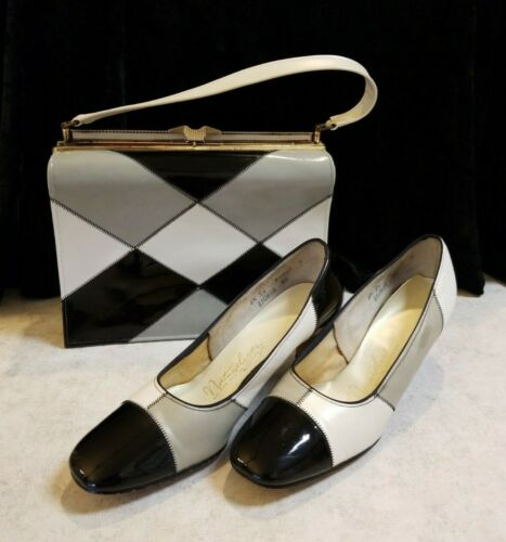 Vintage Naturalizer  black, gray, white/cream Heels w/ Matching Bag  Retro