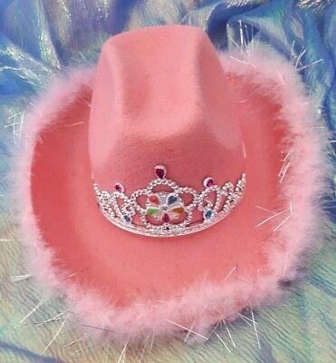 Cowgirl Hut mit Marabubesatz und Diadem Cowgirlhut rosa Cowboyhut JGA 129190013 - Rosa Cowgirl