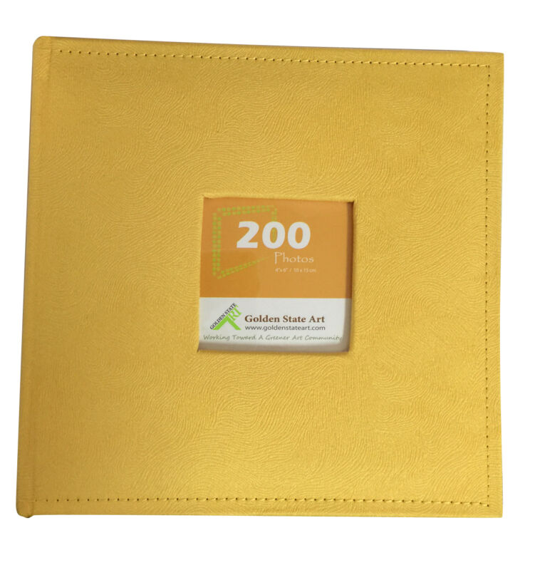 """Suede Cover Photo Album, Holds 200 4""""x6"""" Pictures, 2 Per Pages, CL55058-8 Yellow"""
