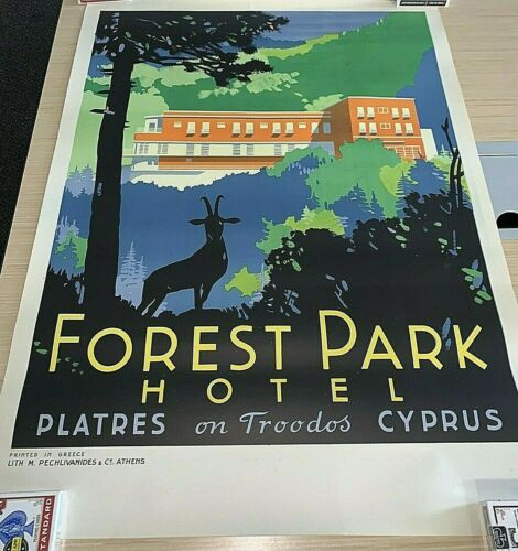 Rare Art Deco FOREST PARK HOTEL CYPRUS travel poster 1930s Excellent Never Hung