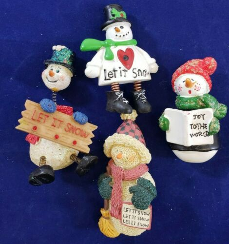 Vintage Christmas Brooch Pin Lot Ceramic Snowman Spring Head Sign Let it Snow