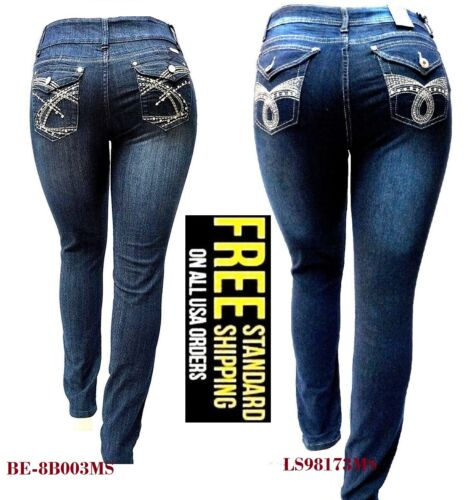 WOMENS PLUS SIZE DARK BLUE HIGH WAIST Stretch denim jeans SKINNY LEG pants-NEW