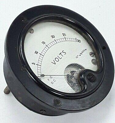 Vintage Dc Volts Panel Meter Gauge  Marked - F.g. D.c. No. 490334 0-30