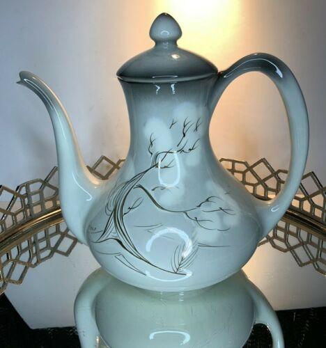 "Sascha Brastoff Coffee Pot Smoke Tree Asian Vintage 10 1/2"" Antique #EL30"