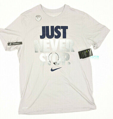 Nike Mens Basketball T-Shirt Just Never Stop Training Grey Gym BQ5186-059 NWT