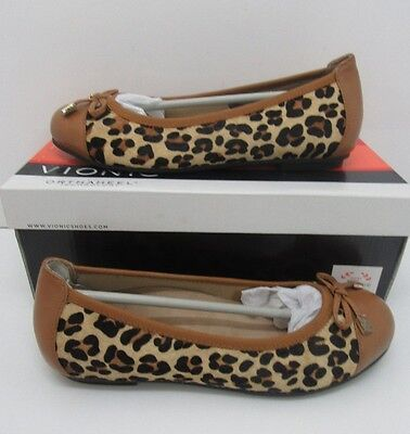 Vionic Orthaheel Spark Minna Ballet Flats Tan Leopard Size US 8