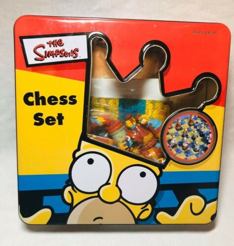 Vintage 1998 The Simpsons 3D Tin Box Chess Set Bart Homer Lisa Maggie Marge