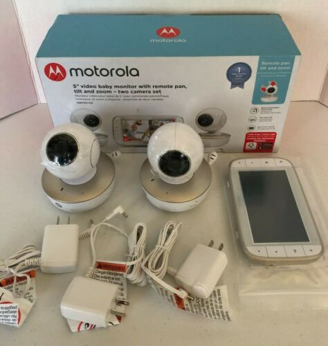 "Motorola 5"" Video Baby Monitor 2 Camera Set Remote Pan Tilt & Zoom-FREE Shipping"