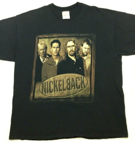 Vtg Nickelback T-Shirt 2-Sided Silver Side Up Cities Tour Concert Band Tee Sz XL