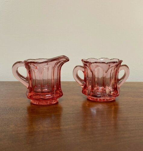 Imperial Glass OLD WILLIAMSBURG DARK AZALEA PINK Mini Creamer & Open Sugar