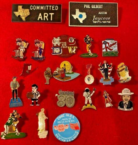 L7) Vintage Lot of Pins Jaycees North Carolina  Texas PA TX NC OH WA NY MA HA